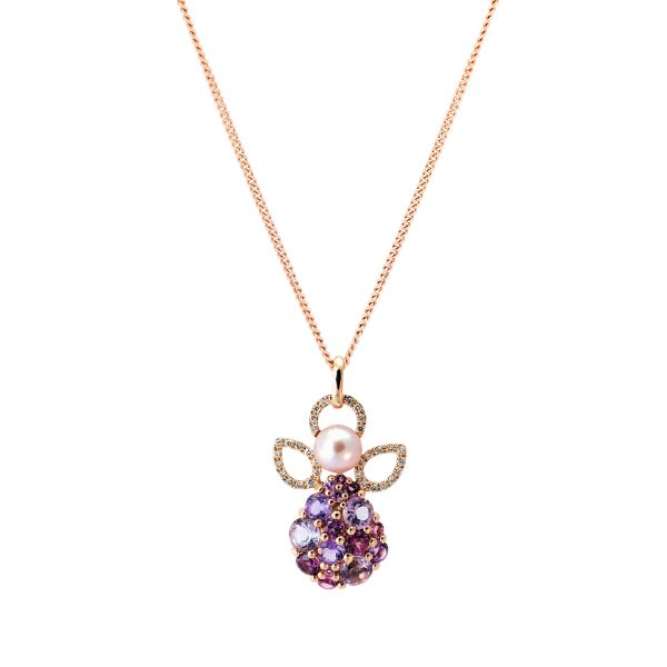 gold diamond angel pendant