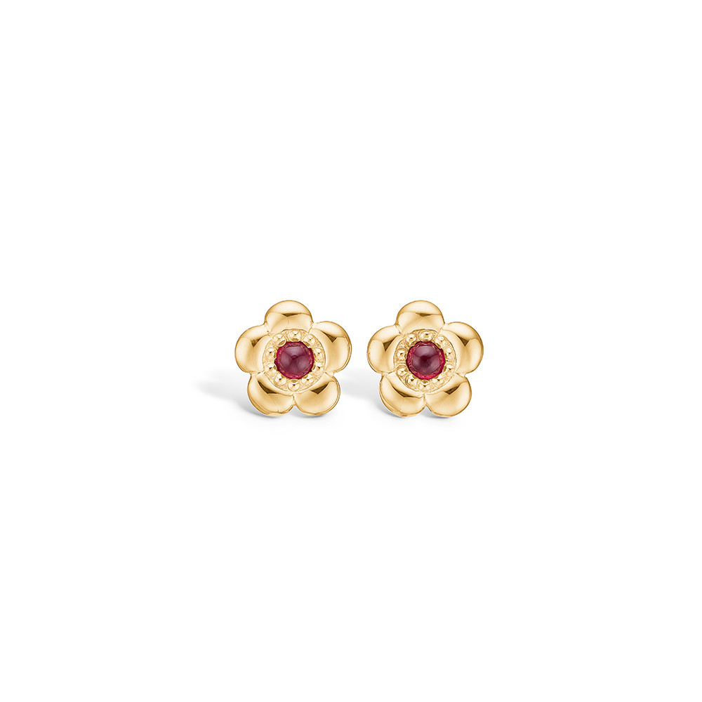 Yellow Gold Flower Earrings With Cabochon Rubies