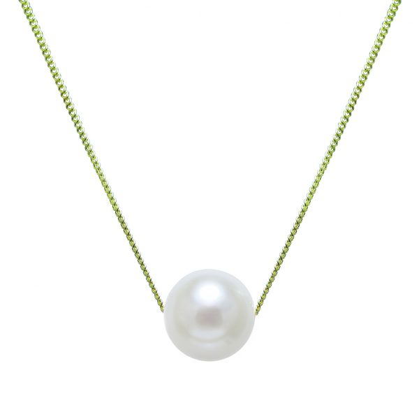 white pearl necklace with gold