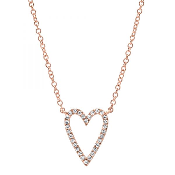 rose gold diamond heart necklace