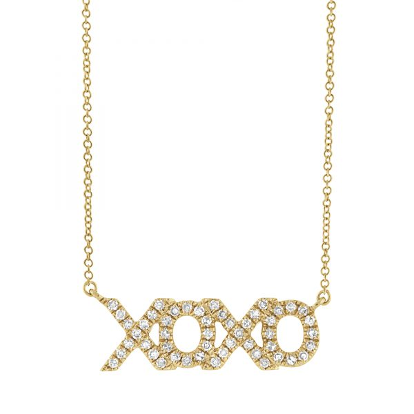 14k gold hugs and kisses necklace