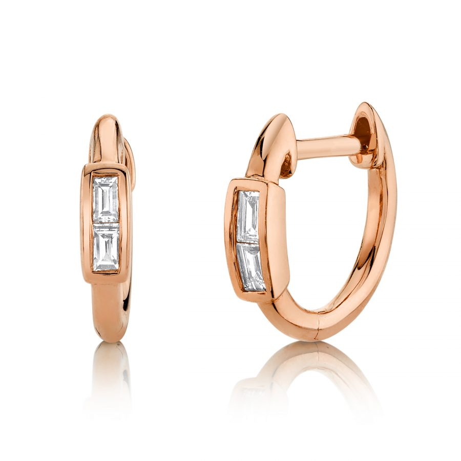 baguette diamond earrings hoops