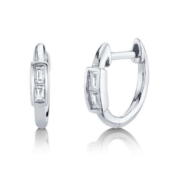 white gold baguette diamond hoop earrings