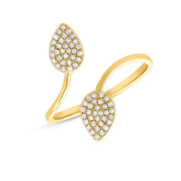 leaf shaped diamond ring