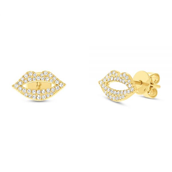 pave diamond earrings yellow gold