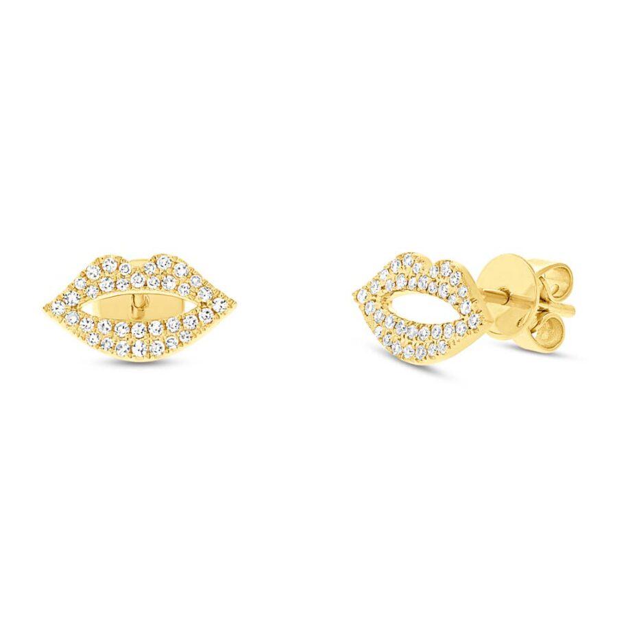 pave diamond earrings yellow gold