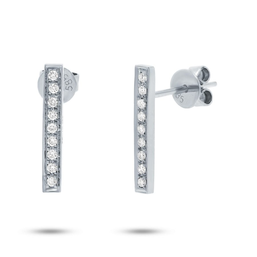 diamond bar earrings white gold
