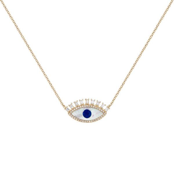 14k gold evil eye pendant